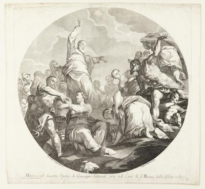 Mana nel deserto Opera di Guiseppe Saluiati ora nel Coro di St. Maria della Salute, in Venezia