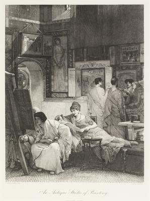 An antique studio of painting