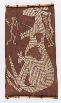 Kangaroo with joey and two figures