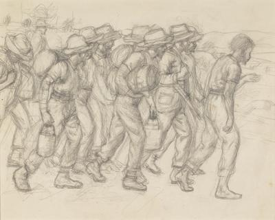 Troops (with gun study on reverse); c 1930s-c 1940s; 1991/0063