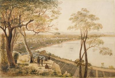 An extensive view of Perth, Western Australia with a group of natives in the foreground