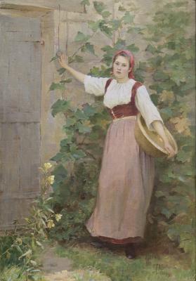 Woman in a garden in France