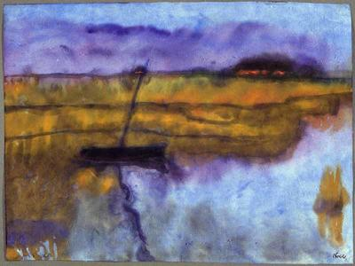 The moored boat - sunset