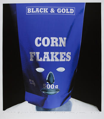 Portrait of Janno as a Black and Gold cornflakes product - reverse