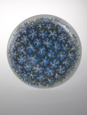 Plate with leschenaultia decoration; c 1962; 2010/0011