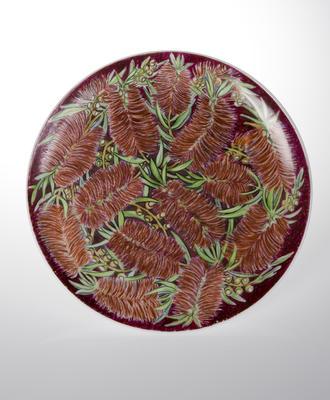 Plate with bottle brush (callistemon) decoration; c 1962; 2010/0012