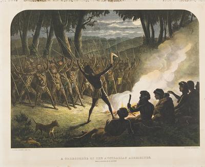 A corroboree of the Australian Aborigines