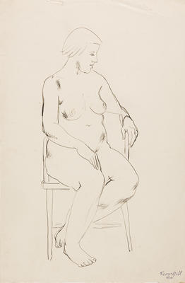 not titled [nude study, frontal pose]; c 1898-c 1966; 2010/0120