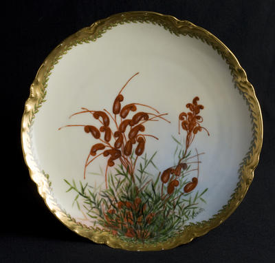 Plate with Grevillea decoration; c 1920; 2012/0031