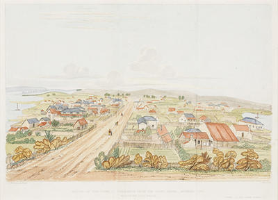 Sketch of the town of Fremantle from the Court House, Arthur's Head, Western Australia