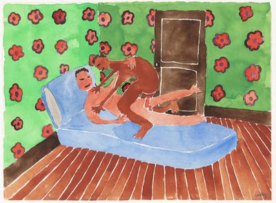 Untitled (Two men having sex in room with floral wallpaper)