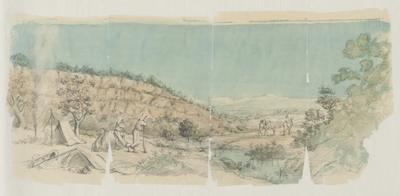 Tent, resting camel, men leaning on rifles beside a pool of water; c 1875; 1874-1876; 1970/00W8
