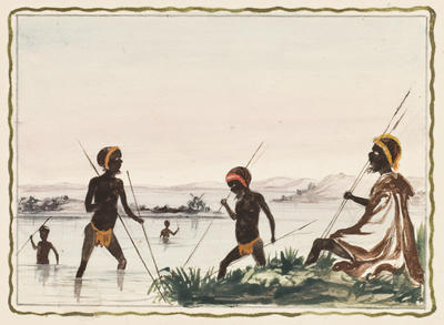 Spearing fish; c 1860s; 1976/0W17