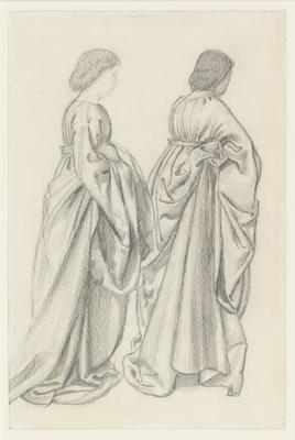 Study of two full-length draped female figures
