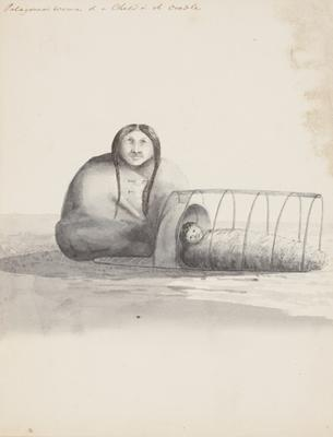 Patagonian Woman and a child in its cradle