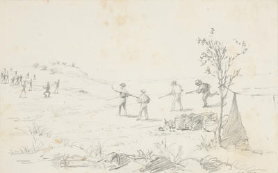 Sketch for Skirmish with Natives at Pierre Springs