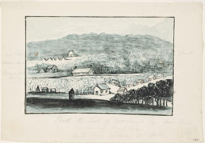 Perth, the seat of government on Swan River in Western Australia; c 1830; 1924/00D4