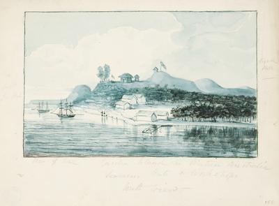 Garden Island in Western Australia, seamen's huts and workshops, south view; c 1830; 1924/00D2