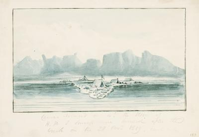 Carnac Island on which the stores of HMS Success were landed after the wreck on the 28 November 1829 east side; c 1830; 1924/00D6