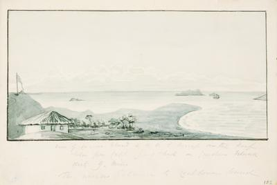 View of Carnac Island and H M S Success on the reef; c 1830; 1924/00D7