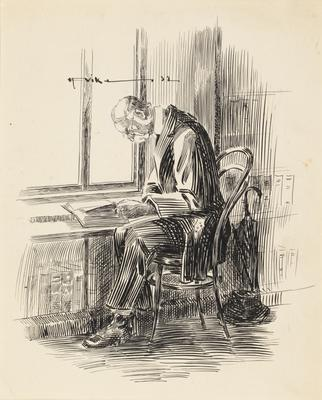 Untitled (man reading in library)
