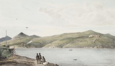 Observatoire de L'Astrolabe au Port du Roi Georges vu de la presquile Possession; 1833; 1961/0Q28