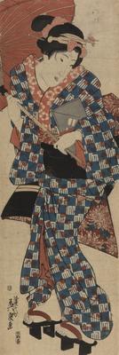 A woman going to nagauta lesson; 1843-1848; 1973/0Q74
