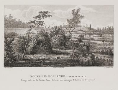 Nouvelle - Hollande: Terre de Leuwin. Etangs sales de la Riviere Vasse; Cabanes des sauvages de la Baie du Geographe
