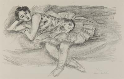 Danseuse au divan, pliée en deux [Dancer on the couch, bent double]