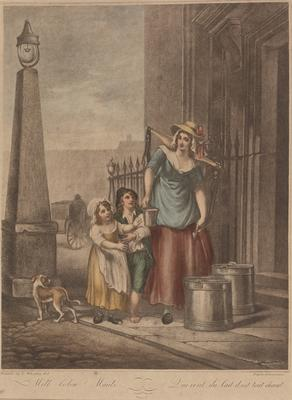 """Milk below maids (from the series """"The cries of London""""); c 1785-c 1810; 1976/0Q65"""
