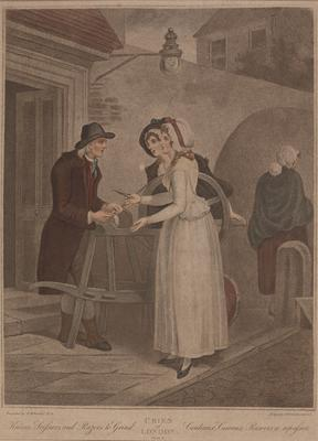 """Knives, scissors, and razors to grind (from the series """"The cries of London""""); c 1789-c 1839; 1976/0Q69"""