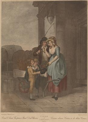 """Round and Sound Fivepence a pound Duke Cherries (from the series """"The cries of London""""); c 1792-c 1813; 1976/0Q71"""
