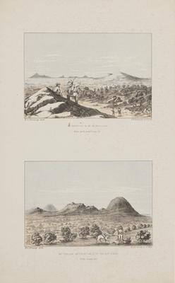 `Mt. Narryer and Mt. Murchison from peak near Camp 14' and `Mt. Taylor, with Mt. Hale in the distance from Camp 22'; c 1864-c 1922; 1970/0Q79
